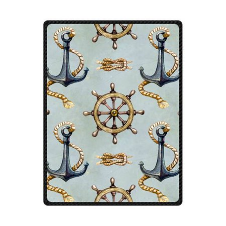 CADecor Nautical Anchor With Rope Vector Illustration Fleece Blanket Bedroom Wrap Throw 58x80 inches](Nautical Throw)