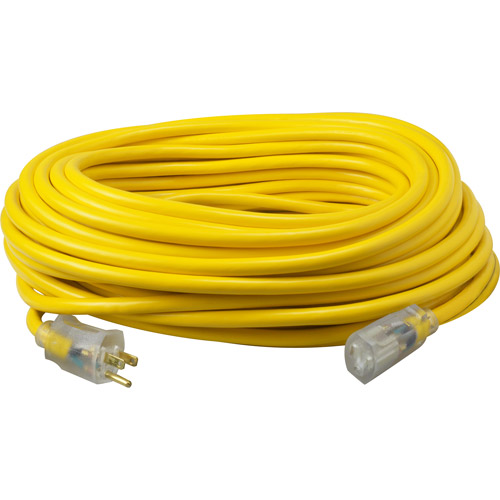 Coleman Cable 50' Yellow Jacket Lighted End Extension Cord