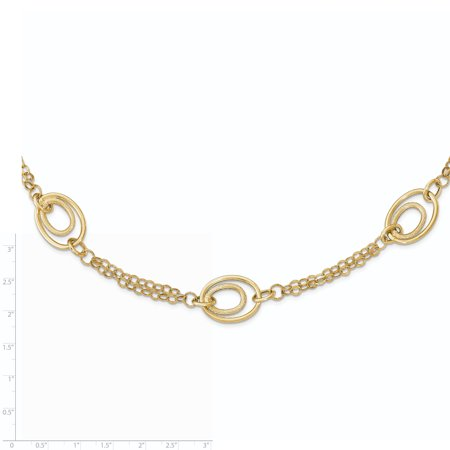 14k Yellow Gold Textured Chain Necklace Pendant Charm Fancy Fine Jewelry Gifts For Women For Her - image 1 of 6