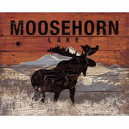 Moosehorn Lake Mountain Distressed Wood Grain Lodge Painting Orange & Grey Canvas Art by Pied Piper Creative