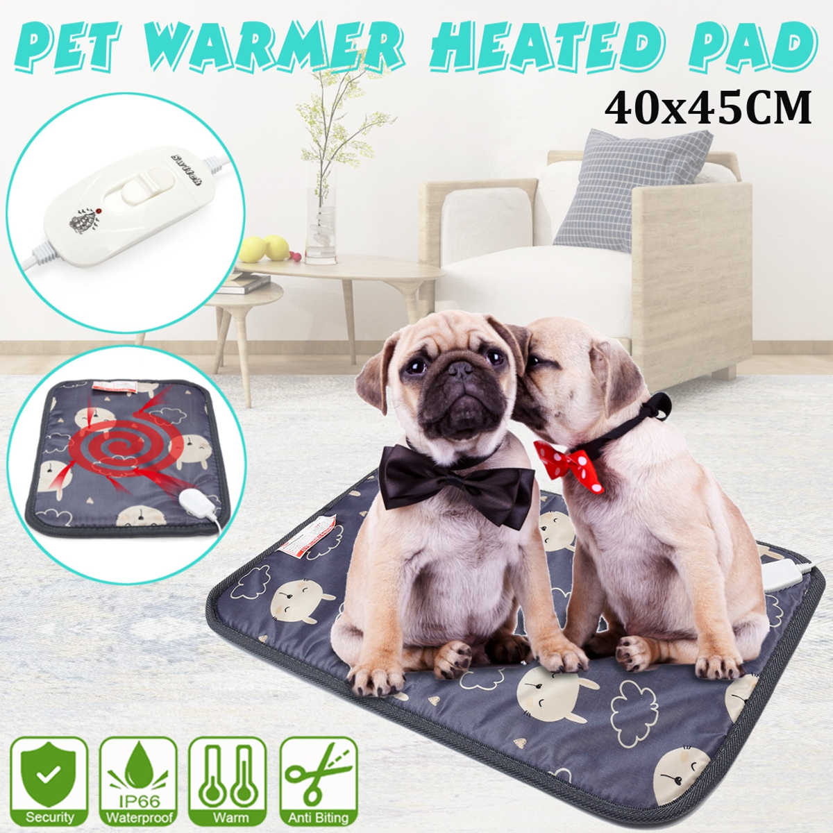 3-Level Pet Electric Heating Pad Cushion Heated Mat Dog Cat Blanket Waterproof Bed Carpet