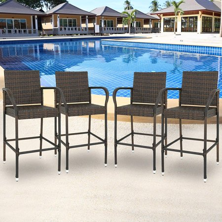 Zeny Set of 4 Wicker Bar Stool Outdoor Backyard Rattan Chair Patio Furniture Chair w/Iron Frame, Armrest and Footrest