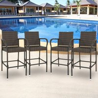 38ca0965112 Product Image Zeny Set of 4 Wicker Bar Stool Outdoor Backyard Rattan Chair  Patio Furniture Chair w