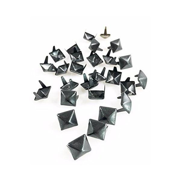 "Dangerous Threads Nailheads Spots Studs 2 Prong 3/8"" Square Pyramid Studs - Various Colors - 100 Pcs (Matte Black)"