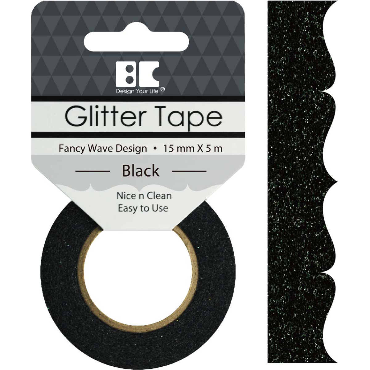 Best Creation Designer Glitter Tape 15mmx5m-Black Fancy Wave
