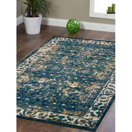 Rugsotic Carpets Machine Woven Heatset Polypropylene 10'x13' Area Rug Oriental Blue MX0015 ()