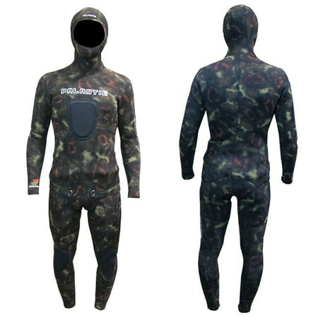 Palantic Spearfishing Neoprene Camouflage Stretch Max 5mm Two Piece Farmer John Wetsuit,