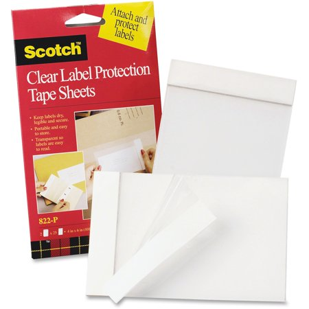 3M, MMM822P, Clear Label Protection Tape Sheets, 2 / Pack, Clear