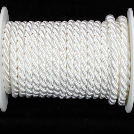 "White Braided Cording Wired Craft Ribbon 0.25"" x 17 Yards"
