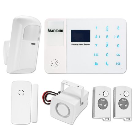 DANMINI 433MHz Wireless GSM SMS Alarm System LCD Screen PIR Motion Sensor Door Sensor Kit With SIM Card Slot Phone App Remote Control Home Burglar Security Alarm