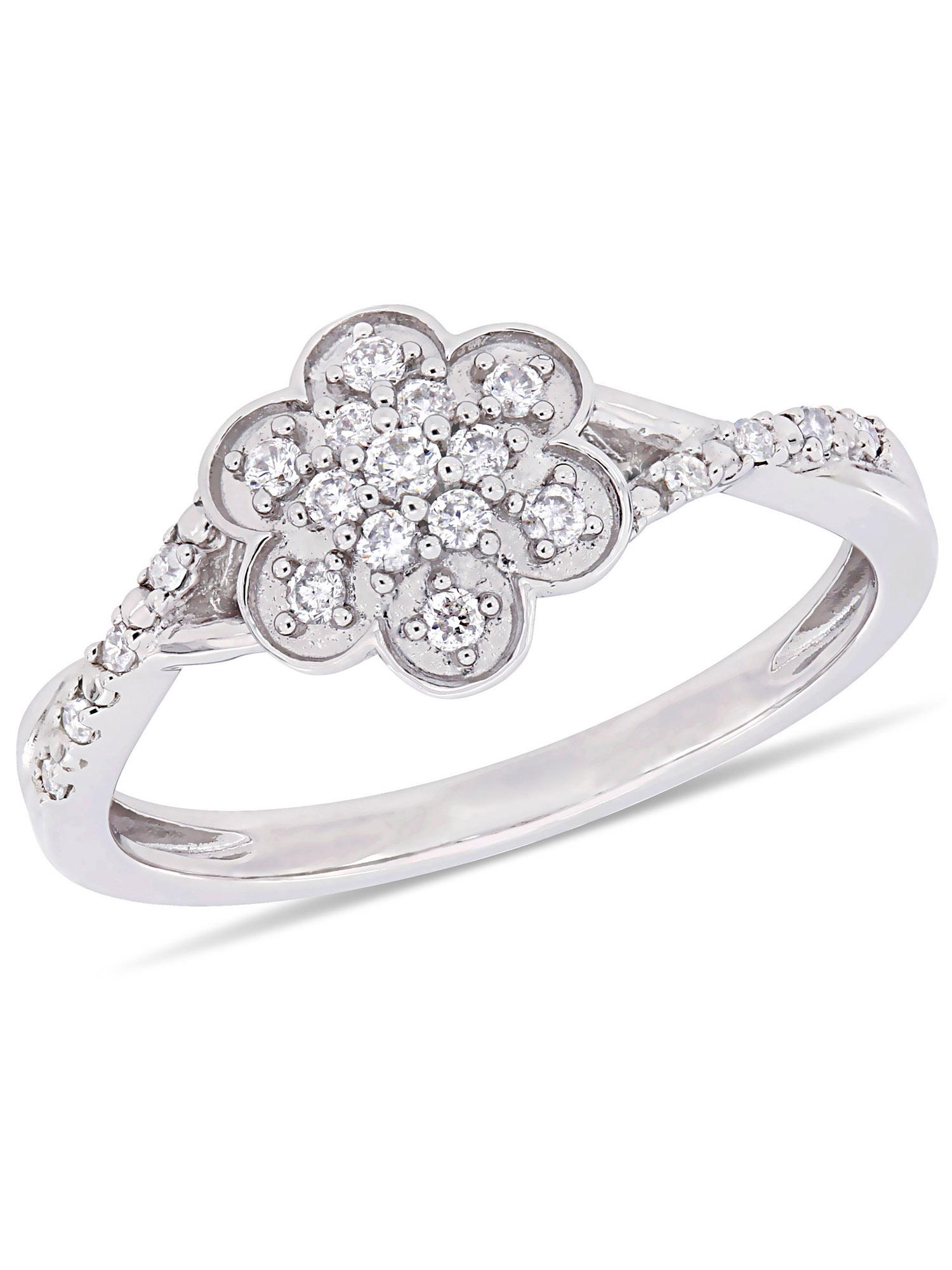 Miabella 1/5 Carat T.W. Diamond 10k White Gold Floral Promise Ring