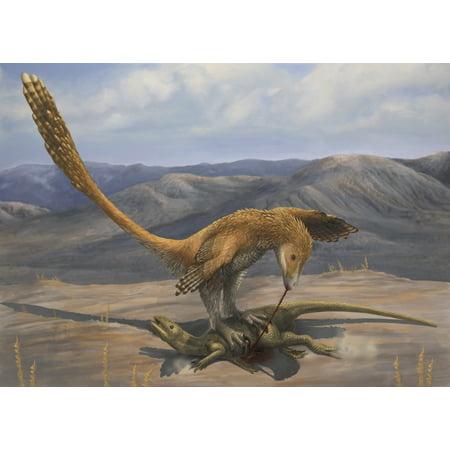 A Deinonychus feeds on the carcass of a Zephyrosaurus ...