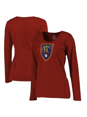 Real Salt Lake Fanatics Branded Women's Plus Size Primary Logo Long Sleeve T-Shirt - Red