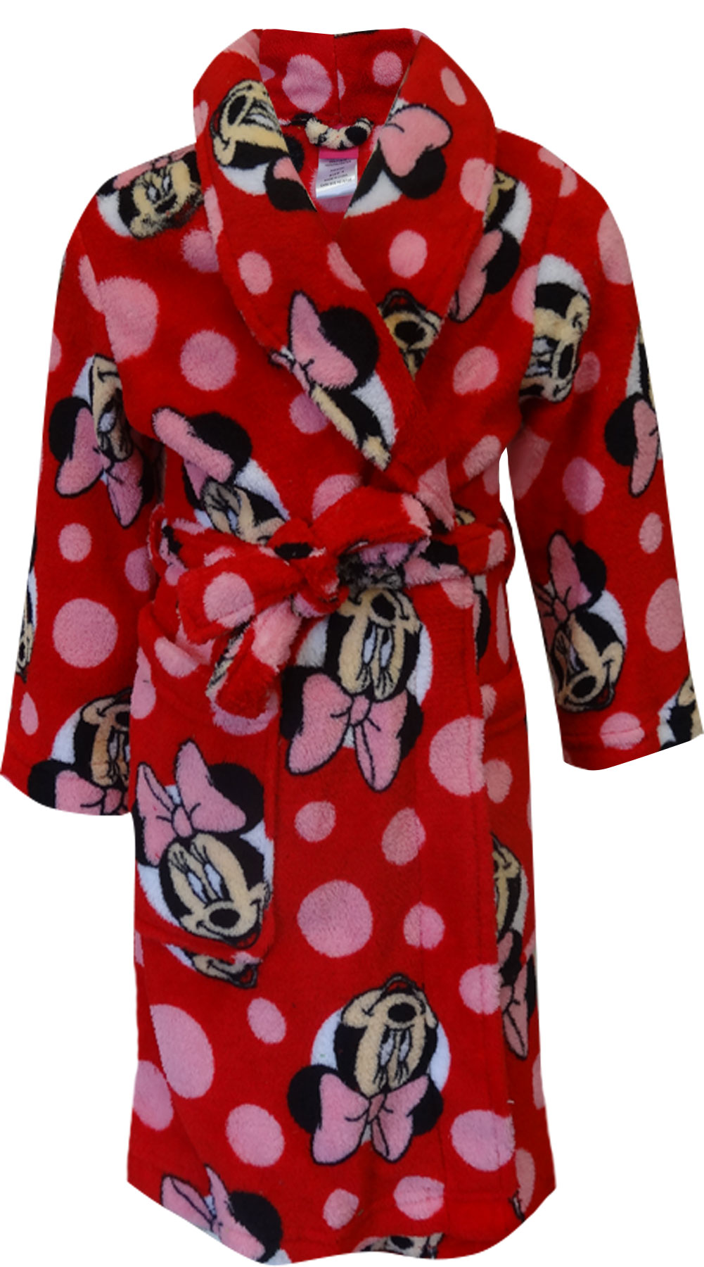 DISNEY Girls dressing gown MINNIE MOUSE Red luxury soft fleece Age 3 4