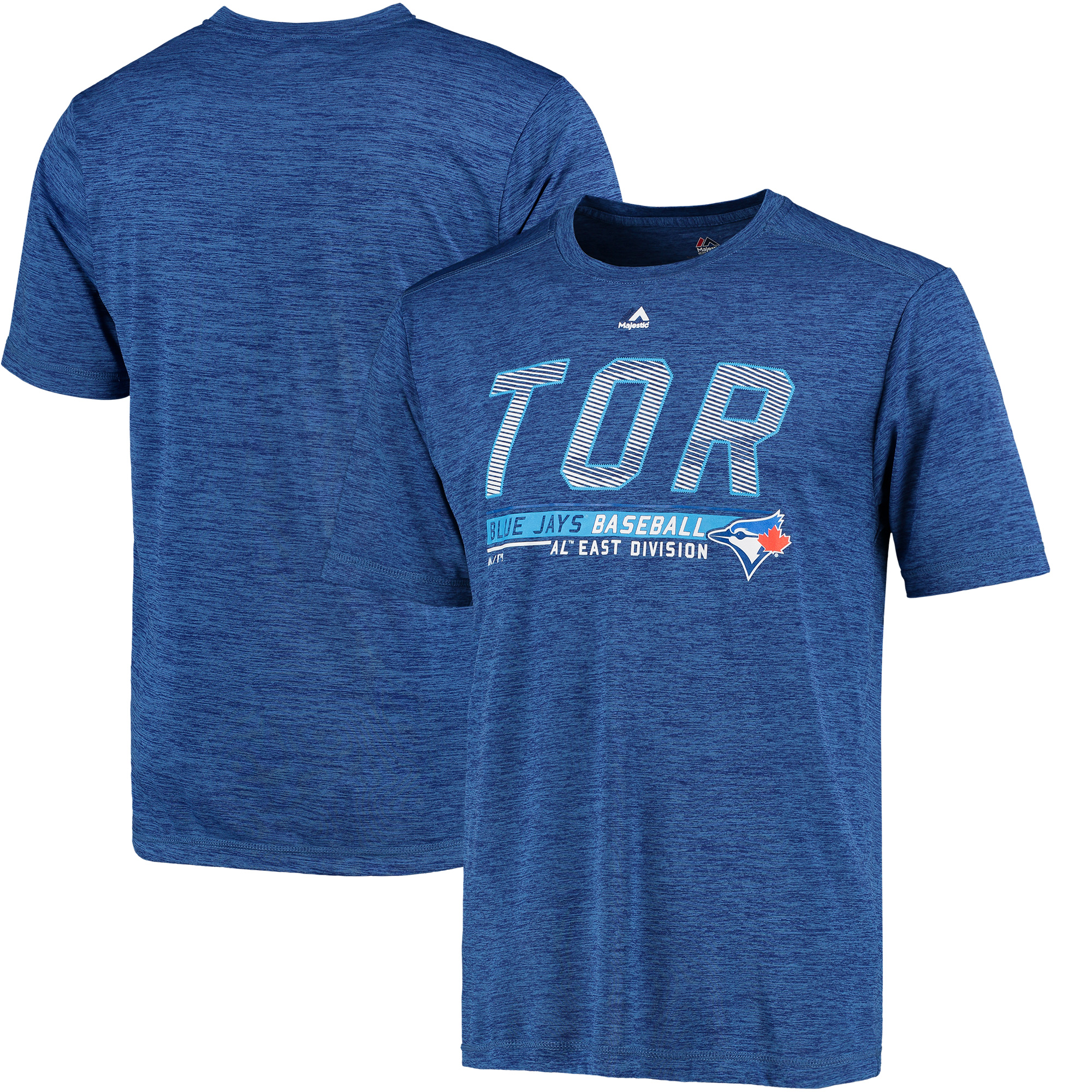 Toronto Blue Jays Majestic Feel the Drama Poly T-Shirt - Heathered Royal
