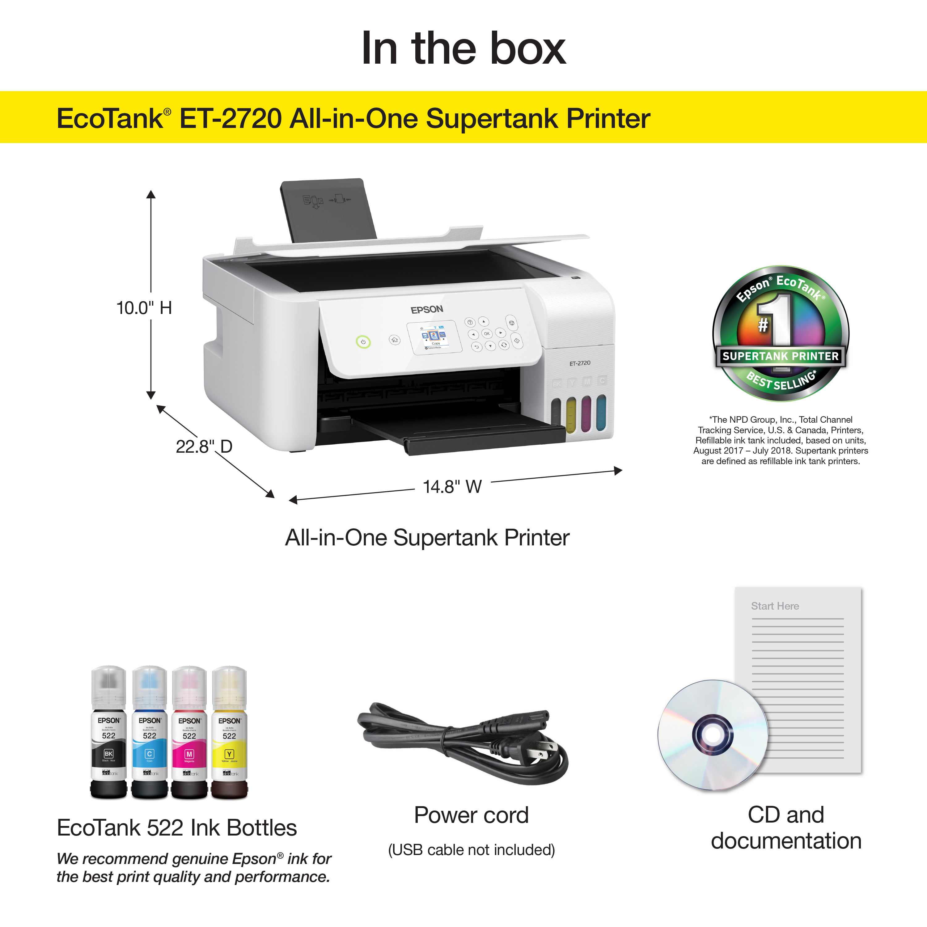 Epson EcoTank ET-2720 Wireless Color All-in-One Supertank
