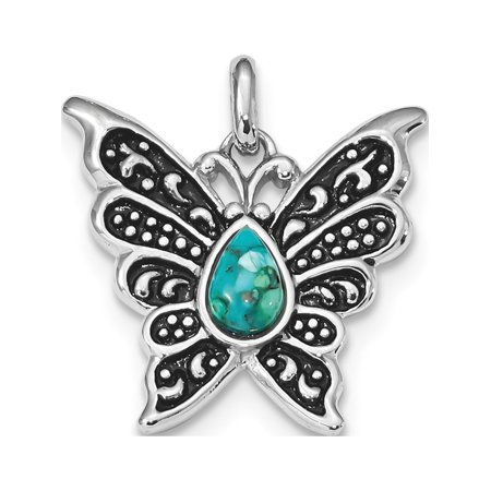 Leslies Fine Jewelry Designer 925 Sterling Silver Rhodium/Oxidized Reconstituted Turquoise Butterfly (20.5x25.5mm) Pendant Gift