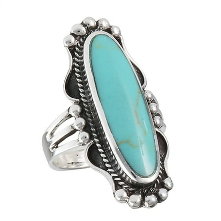 Wide Simulated Turquoise Bali Design Statement Ring .925 Sterling Silver Band Size 9 Sterling Silver Bali Design