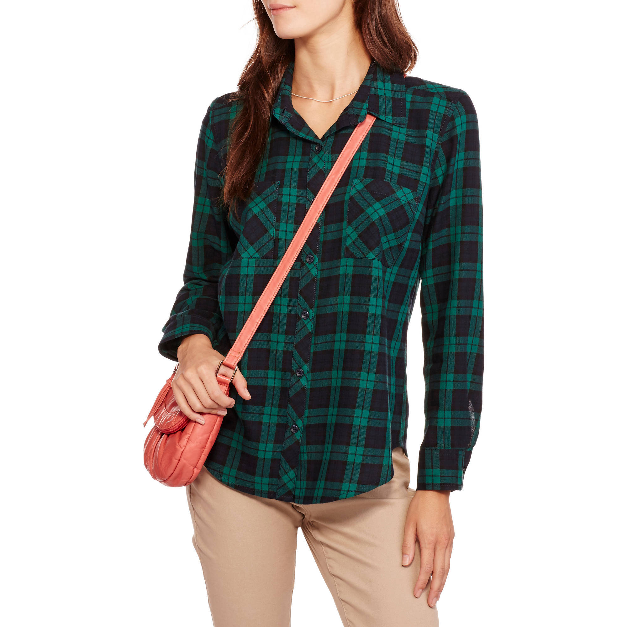 Faded Glory Women's Long Sleeve Classic Button Front Plaid Shirt with Pockets