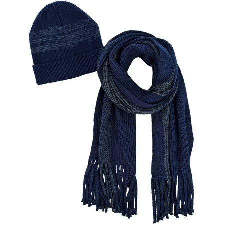 Navy Blue and Gray Mens Winter Knit Hat and Scarf (Knit Men Scarf)