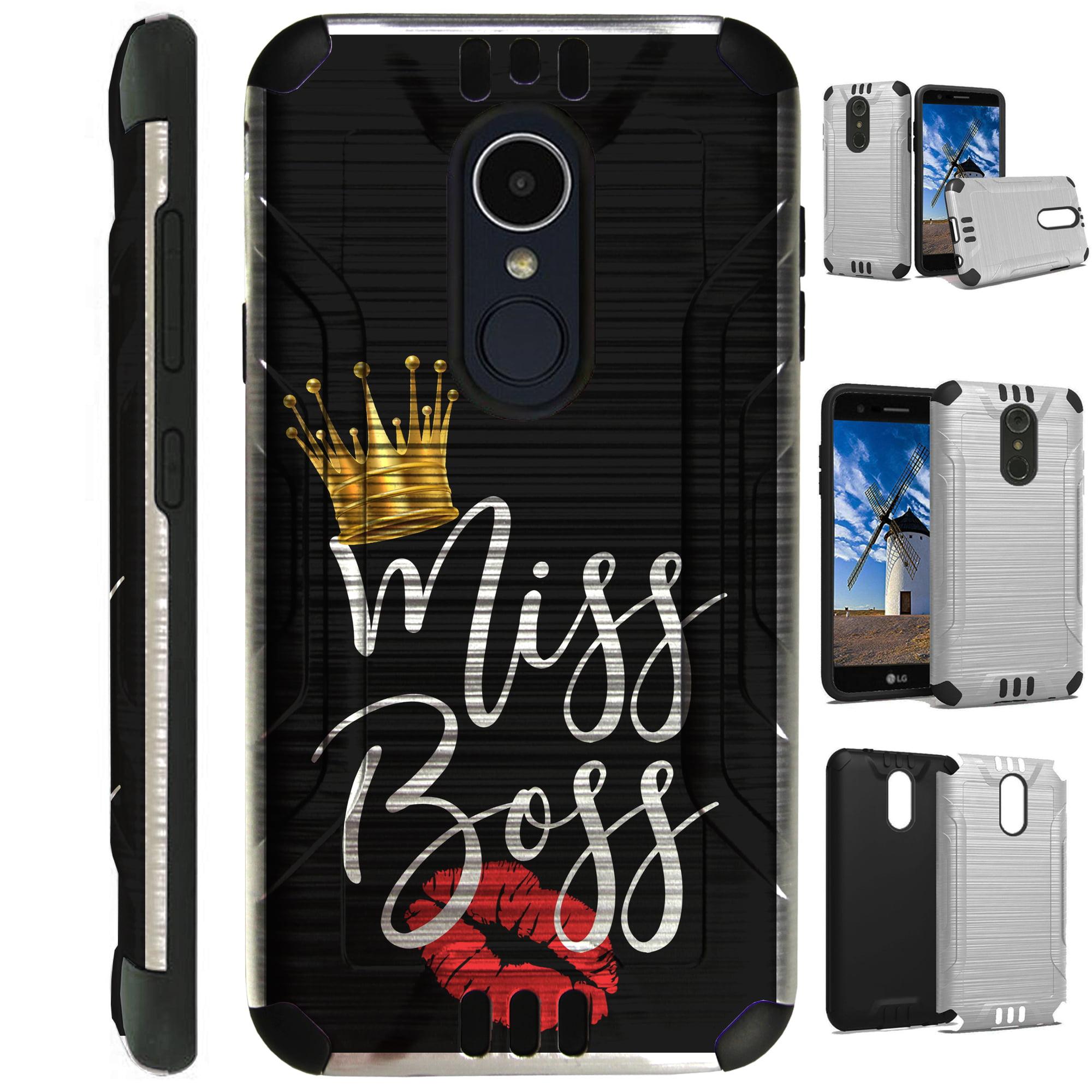 For LG Rebel 3 | LG Rebel 4 Case Brushed Metal Texture Hybrid TPU Silver Guard Phone Cover (Miss Boss)