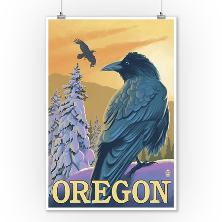 Oregon Raven - Lantern Press Poster (9x12 Art Print, Wall Decor Travel Poster) - Raven Decor