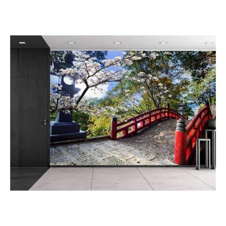 wall26 - Light Post Next to a Red Bridge on a Japanese Garden - Wall Mural, Removable Sticker, Home Decor - 66x96 inches