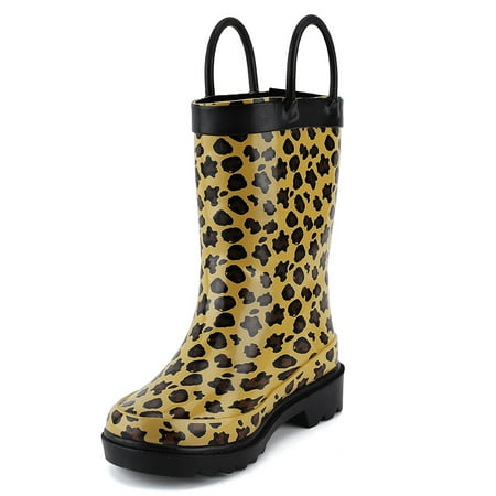 Puddle Play Children's Girls' Leopard Printed Waterproof Easy-On Rubber Rain Boots (Toddler/Little Kids)
