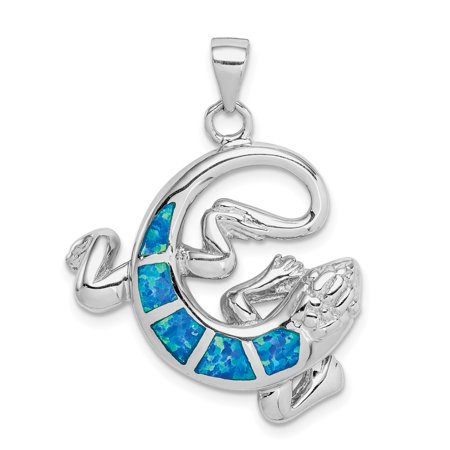 Sterling Silver Rhodium-plated Created Blue Opal Gecko