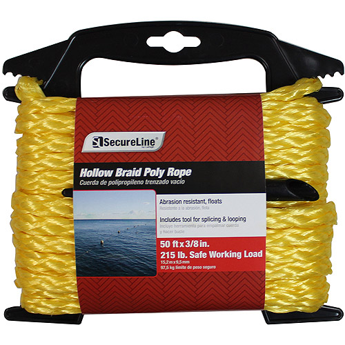 "SecureLine 3/8"" x 50' Hollow Braided Polypropylene Rope"