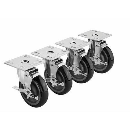 Krowne 3 1 2 x 3 1 2 Universal Plate Caster 5 Wheel Set of 4 28 111S