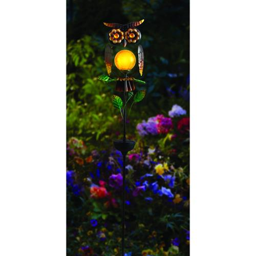 "Moonrays Owl Stake Light - 3.3"" Height - 7.4"" Width - Led Bulb - Bronze - Metal, Plastic, Glass - Ground-mountable - Multicolor - For Garden, Outdoor (92213)"