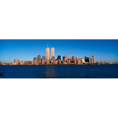 Panoramic view of lower Manhattan and Hudson River New York City skyline NY with World Trade Towers at sunset Poster Print - Party City Monroe Ny