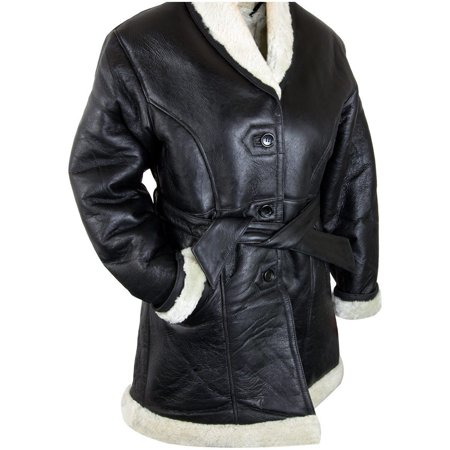 Lucky Leather Ladies Lucky Leather 111S Black Leather Long Shearling Coat with Belt Black