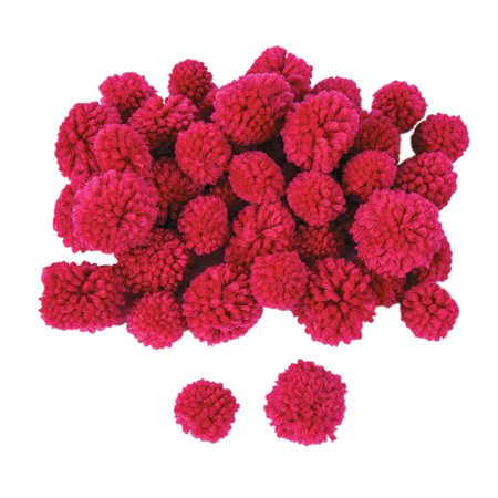 Fun Express - Dark Pink Yarn Pom Poms (42pc) - Craft Supplies - Bulk Craft Accessories - Crafts Pom Poms - 42 Pieces Dark Pink Yarn Pom Poms (42pc) - Craft Supplies - Bulk Craft Accessories - Crafts Pom Poms - 42 Pieces