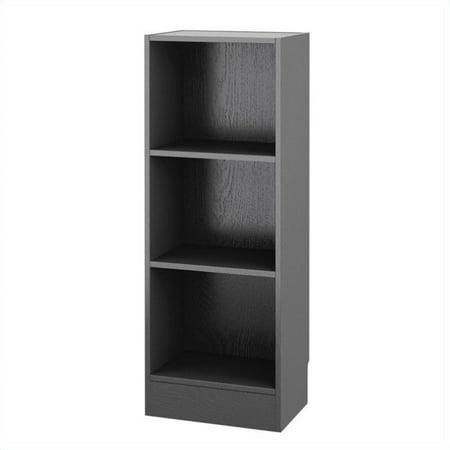 Atlin Designs Short Narrow 3 Shelf Bookcase in Black Wood Grain