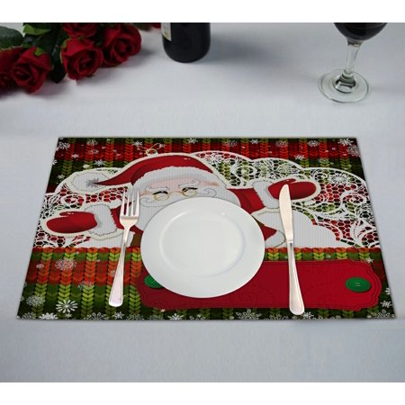 Santa Placemat (GCKG Festival Placemat, Merry Christmas Santa Claus Saying Hello to You Placemat 12x18 Inch,Set of 2 )