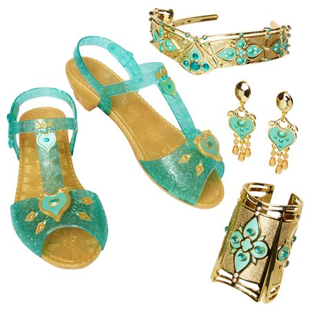 Disney Princess Aladdin Jasmine Deluxe Accessory Set includes shoes, tiara, and earrings - Purple Princess Jasmine Costume