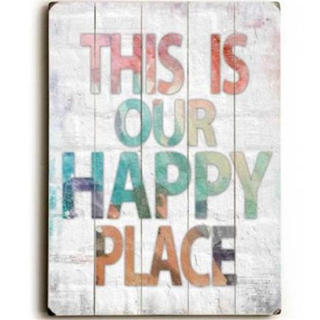 One Bella Casa 0004-4664-25 9 x 12 in. This is Our Happy Place Solid Wood Wall Decor by Misty Diller ()