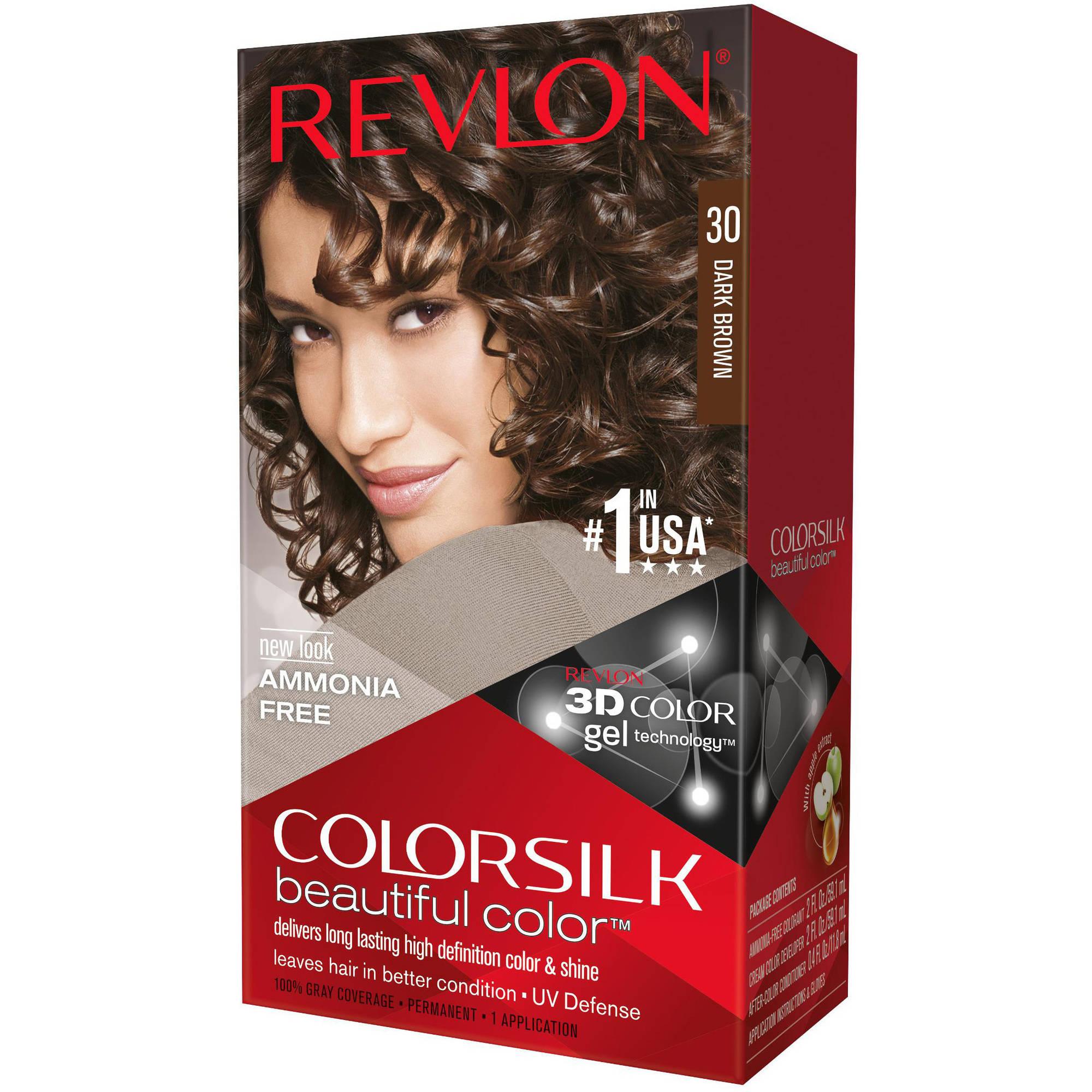 Revlon Colorsilk Beautiful Color Permanent Hair Color, 30 Dark Brown