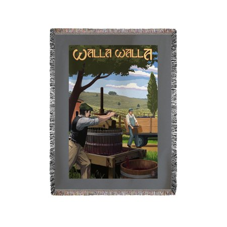 Walla Walla  Washington   Wine Grape Crushing   Lantern Press Artwork  60X80 Woven Chenille Yarn Blanket