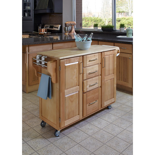 Home Styles Large Kitchen Cart, Natural with Wood Top by Home Styles