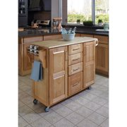Home Styles Large Kitchen Cart, Natural with Wood Top