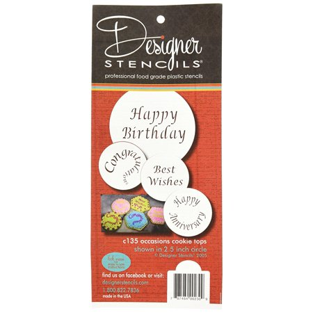 Designer Stencils C135 Special Occasions Candy and Cookie Stencils (Congratulations, Best Wishes, Happy Birthday and Anniversary), Beige/semi-transparent (Happy Face Stencil)