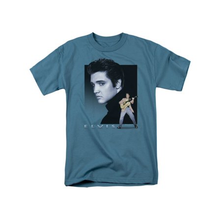Elvis Presley The King Rock Blue Rocker Adult T-Shirt - Elvis Presley Outfits