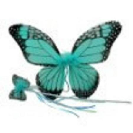 Girls Monarch Butterfly Wings & Wand Set (Turquoise, One Size) (Adult Monarch Butterfly Wings)