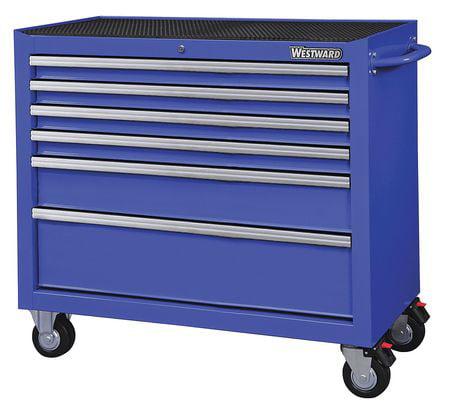 """WESTWARD Rolling Cabinet,18-15/16""""W,39-13/16H,Blu 32H854"""