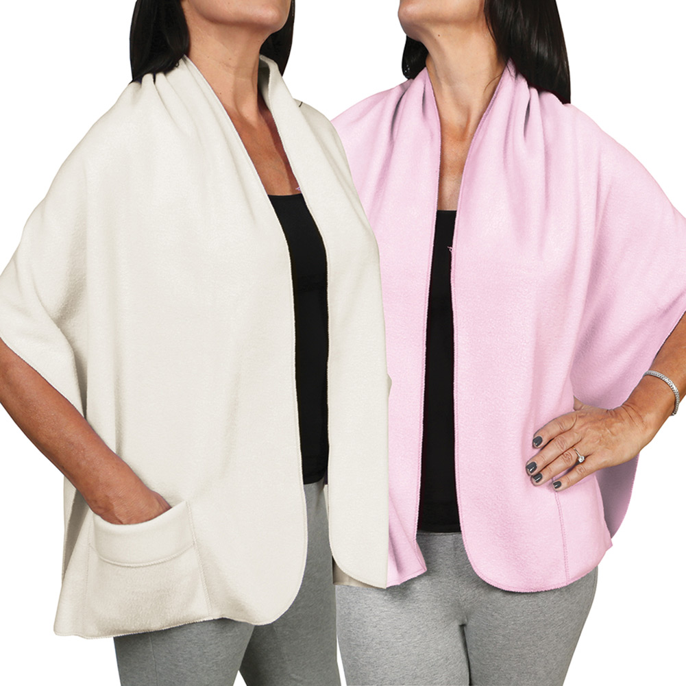 Women's Fleece Pocket Shawl Wrap Set Of Two - Light Pink And Ivory
