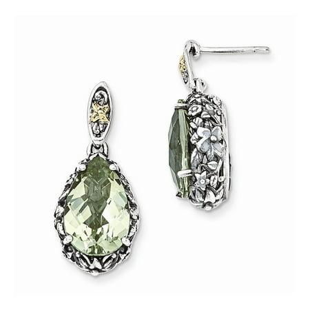 Sterling Silver w/14k Green Quartz Post Dangle Earrings, Gem Ctw.7.74