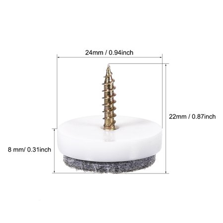 Furniture Feet Nail Protector Screw In 24mm Dia White For Wooden